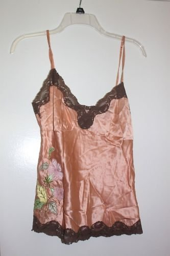 Amazing Silk Gold Hawk Embroidered Peach Camisole Top 2