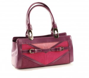 Galaday Purple Italian Crystal Leather with Suede Handbag