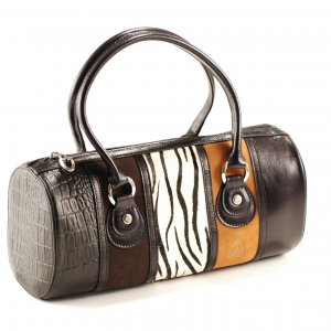 Galaday Black Italian Soft Leather with Horse Hair and Suede Handbag