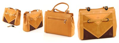 Light Brown Italian Crystal Leather with Suede Insert