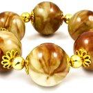 Large Desert Marble Bead Stretch Bangle Bracelet