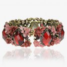 Floral Retro Copper Open Cuff Vintage CZ Gemstone Bangle Bracelet