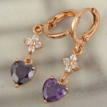 9K Rose Gold Filled Amethyst Cubic Zirconia Heart Earrings