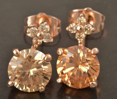 9K Rose Gold Gold Filled Champagne Cubic Zirconia Earrings