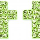 Lime Crystal Cross Earrings