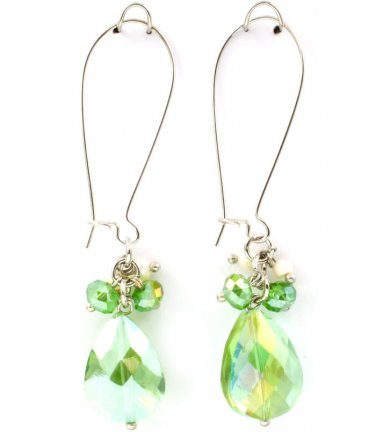 Lime Acrylic Teardrop Charm Earrings