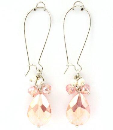 Pink Acrylic Teardrop Charm Earrings