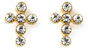 Crystal Stud Cross Earrings