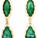 Navette Cut Faceted Jade Formica Linear Drop Earrings