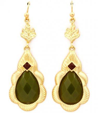 Matte Finish Jade Formica Dangle Drop Earrings