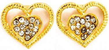 Double Heart GT Crystal Earrings