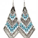 Indian Squaw Turquoise Twine Accented Earrings