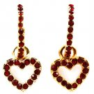 Ruby Red Crystal Dangle Heart Drop Earrings