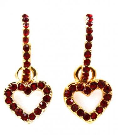 Ruby Red Crystal Dangle Heart Drop Earrings