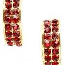 Ruby Red Crystal Half-Hoop Earrings