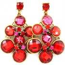 Ruby Red Crystal Drop Earrings