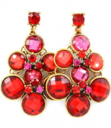 Ruby Red Crystal Drop Earrings