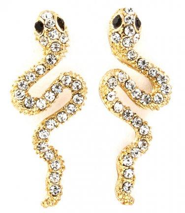 9k Yellow Gold Filled Crystal Snake Earrings
