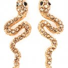 9k Rose Gold Filled Crystal Snake Earrings