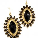 Sunflower Black Bead Accent Earrings