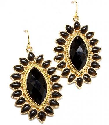 Sunflower Black Bead Accent Earrings