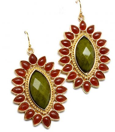 Sunflower Jade Bead Accent Earrings