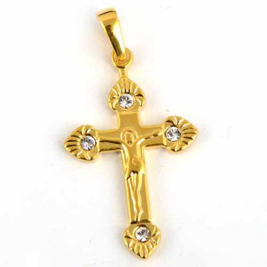 9k Gold Filled Cubic Zirconia Stud Cross Pendant