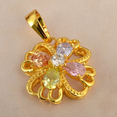 9k Gold Filled Cubic Zirconia Flower Pendant