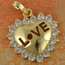 9k Gold Filled Cubic Zirconia Love Heart Pendant