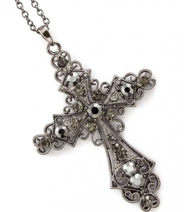 Gray Crystal Cross Pendant Necklace
