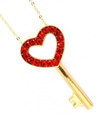 Ruby Red Crystal Valentine Heart Key Pendant Necklace
