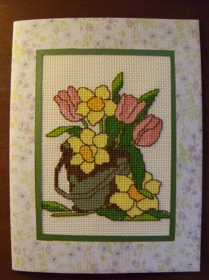 """Finished Completed Cross Stitch Card - Flowers 6""""X8"""" Extra Large"""