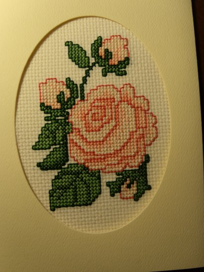 "Finished Completed Cross Stitch Card - Pretty ""Roses"""