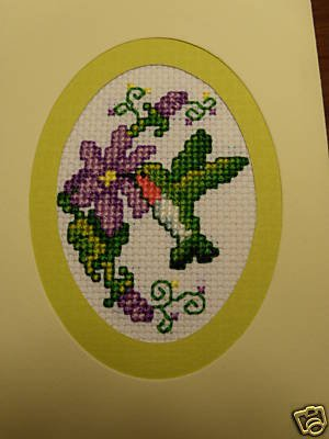 Finished Completed Cross Stitch Card - Hummingbird and Flowers