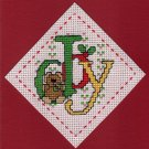 Finished Completed Cross Stitch Card - Christmas Joy