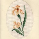 Finished Completed Cross Stitch Card - Iris Flower