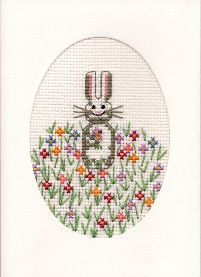 Finished Completed Cross Stitch Card - Spring Bunny