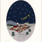 Finished Completed Cross Stitch Card - Winter Night