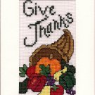 Finished Completed Cross Stitch Card - Give Thanks