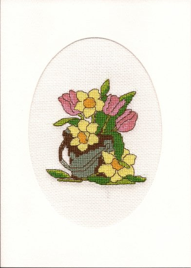 Finished Completed Cross Stitch Card - Flower Bouquet