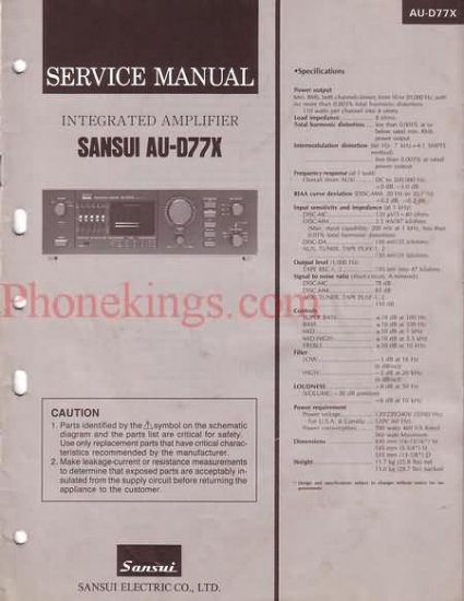 Sansui  AU-D77X  Stereo amplifier  Service  manual