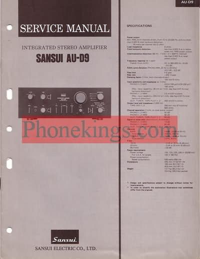 Sansui  AU-D9  amplifier  Service  manual