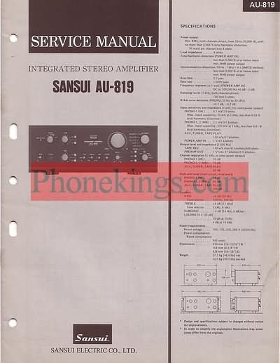 Sansui  AU-819  amplifier  Service  manual