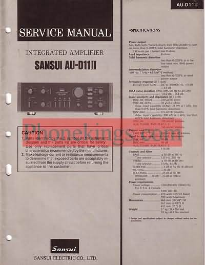 Sansui  AU D11 II  amplifier  Service  manual