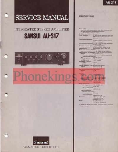 Sansui  AU-317  Stereo amplifier  Service  manual