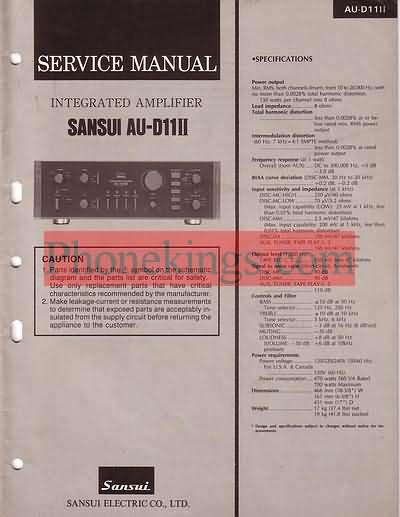 Sansui  AU D11 II  amplifier  Service  manual 1