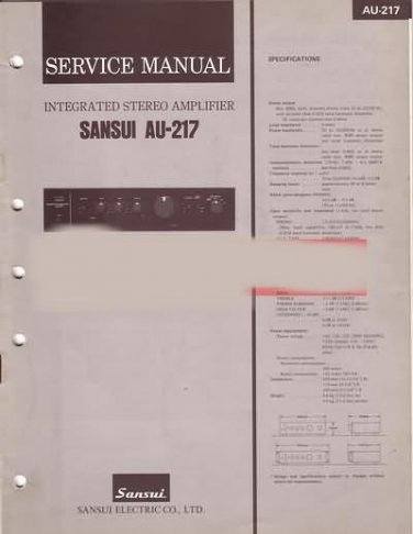 Sansui  AU-217  Stereo amplifier  Service  manual