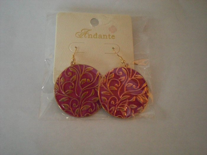 Bright Pink Dangling Earrings with a Gorgeous Gold Floral Pattern