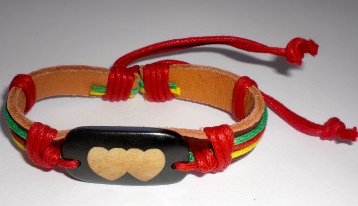 Rastafarian Heart Bracelet with Yellow String