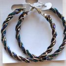 Beaded Hoop Earrings (Dark Rainbow)